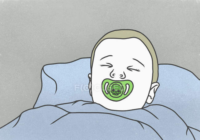 Illustration of boy sleeping with pacifier against gray background — Stock Photo