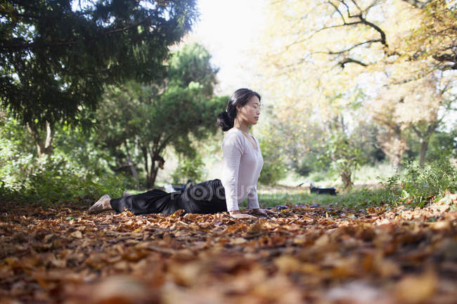 Side view of woman performing yoga on dry leaves by trees at park — Stock Photo