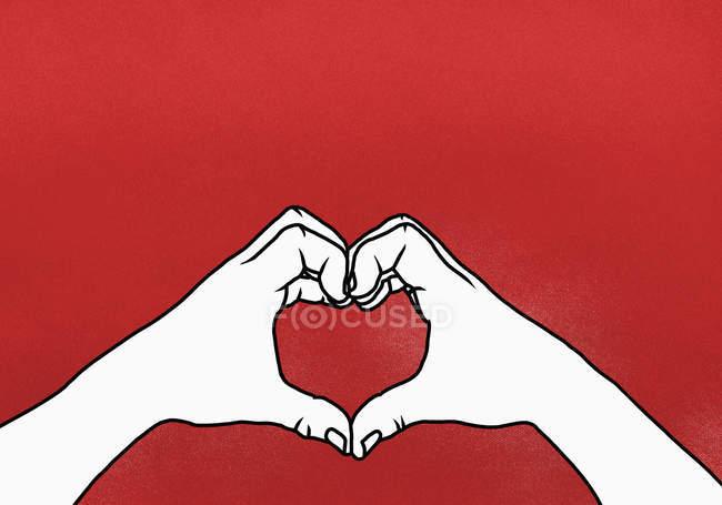 Cortadas as mãos da pessoa que faz o coração forma contra o fundo vermelho — Fotografia de Stock