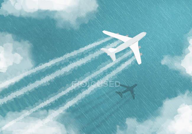 Пташиного польоту літак, що летить над морем — стокове фото
