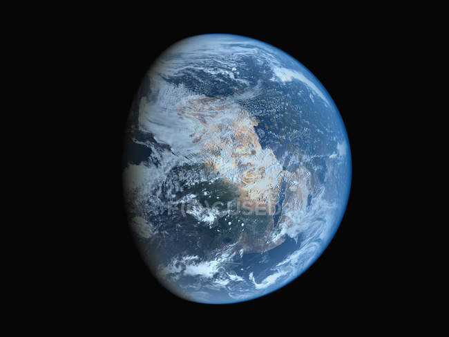 Satellite view of earth planet in shadow — Stock Photo