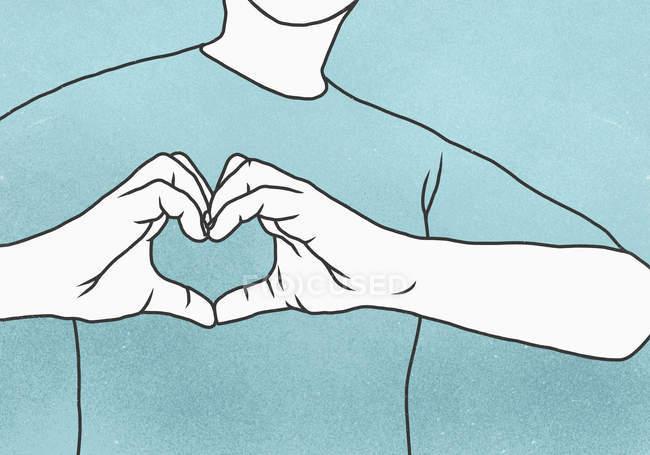 Meio de homem fazendo formato de coração, contra o fundo azul — Fotografia de Stock