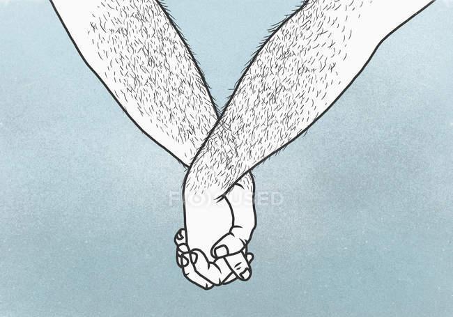 Recortar las manos de la pareja de homosexuales tomados de la mano sobre fondo azul - foto de stock