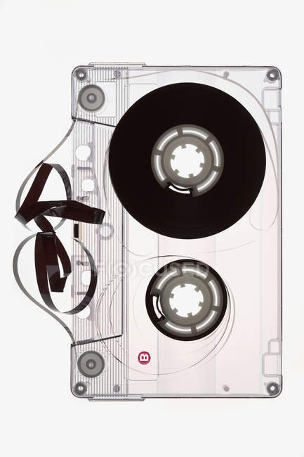Directly above view of unraveled cassette tape — Stock Photo
