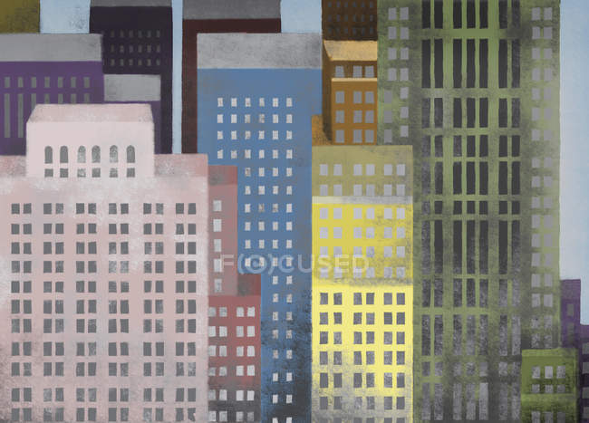 Illustration of vibrant colored skyscrapers — Stock Photo