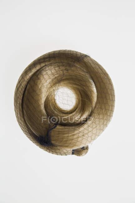 Bionda capelli blocco arricciato in rete su sfondo bianco — Foto stock
