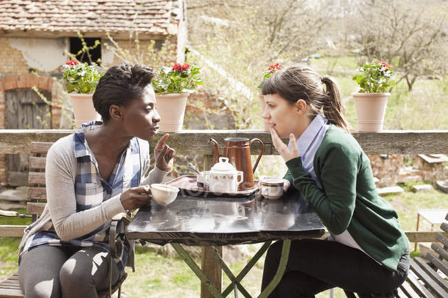 Two women having coffee and gossiping at table in countryside — Stock Photo
