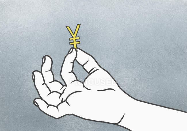 Ilustração de uma mão segurando o sinal — Fotografia de Stock