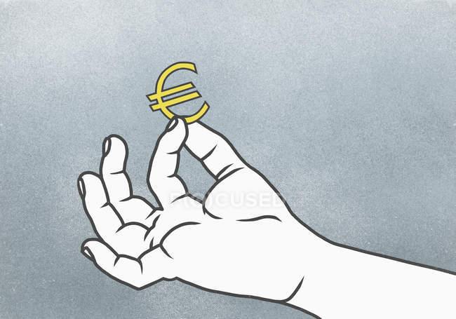 Ilustração da mão segurando o sinal euro — Fotografia de Stock