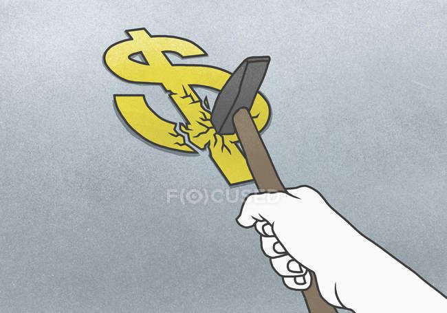 Mão com o martelo bater o dólar — Fotografia de Stock