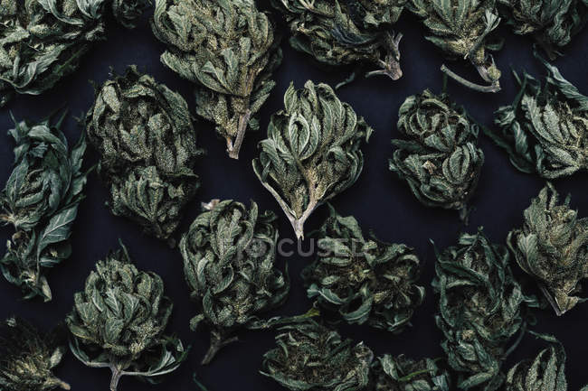Full frame shot of dried marijuana buds on table — Stock Photo