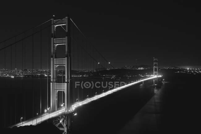 Aerial view of Golden Gate Bridge at night — Stock Photo