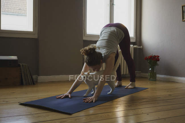 Full length of woman practicing downward facing dog position with cat on exercise mat at home — Stock Photo