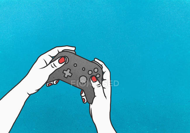 Woman playing video game with video game controller on blue background — Stock Photo
