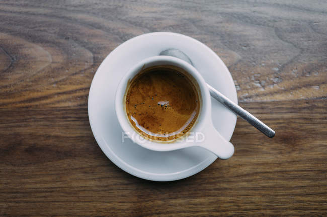 View from above of espresso cup and saucer — Stock Photo