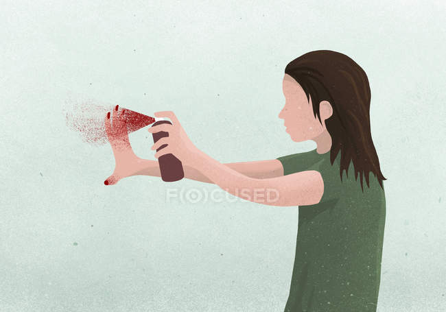 Woman spraying hands with red fingernail polish — Stock Photo