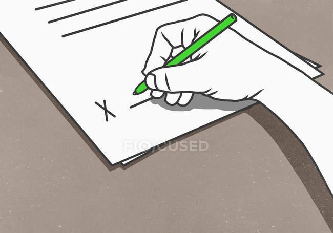 Assinatura contrato de mão, ilustração — Fotografia de Stock