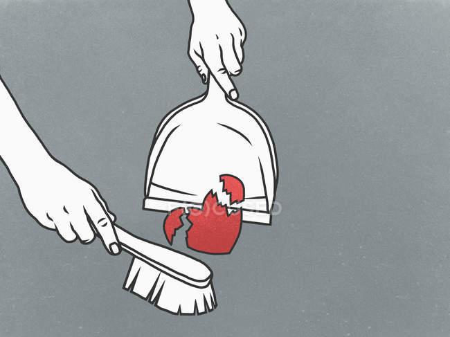 Людина, підмітання розбите серце в совок — стокове фото