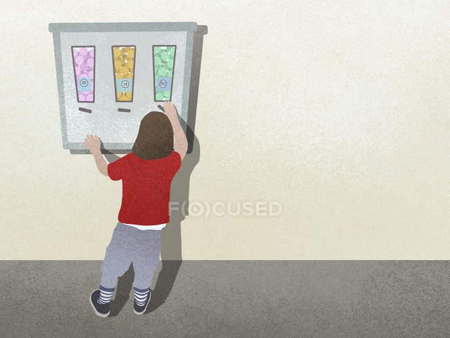 Niño de pie en la máquina expendedora de dulces - foto de stock
