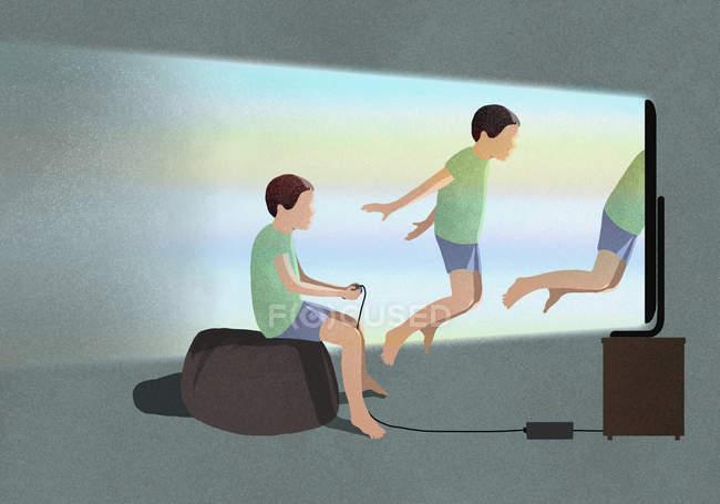 Chico jugando videojuego de realidad virtual - foto de stock
