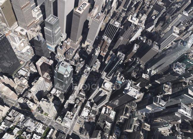 Пташиного польоту Сонячний Сіті горизонт, Нью-Йорк, Нью-Йорк, США — стокове фото
