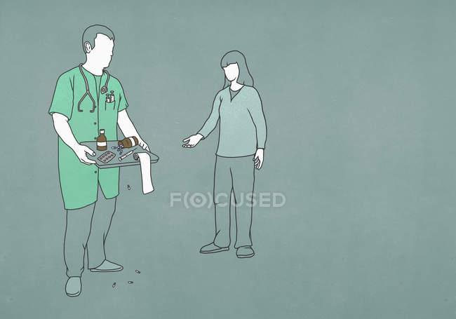 Paciente que procura um médico com bandeja de medicamentos e equipamentos — Fotografia de Stock