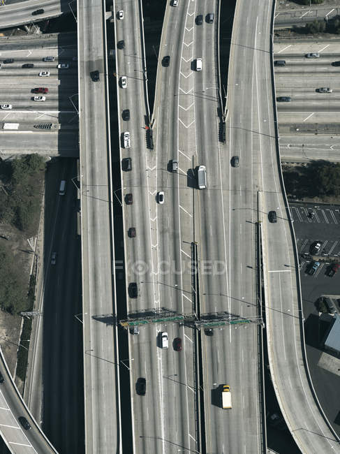 Aerial view freeways and overpasses, Los Angeles, California, USA — Stock Photo