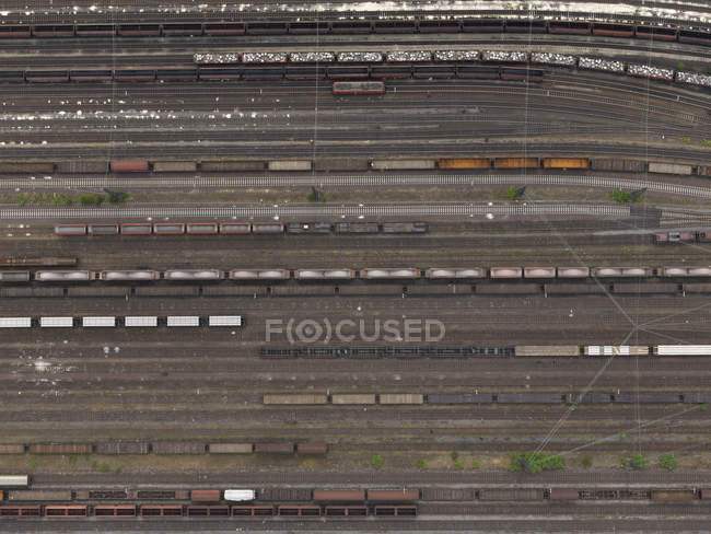 Аэрофотоснимок поезда на маневровых дворе возле Кёльн, Северный Рейн-Вестфалия, Германия — стоковое фото