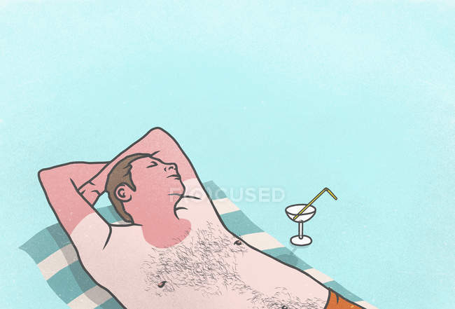 Sunburned man with cocktail sleeping on towel — Stock Photo