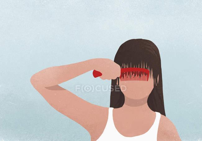 Brunette woman combing bangs — Stock Photo