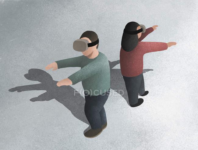 Homme et femme à l'aide de lunettes simulateur de réalité virtuelle — Photo de stock