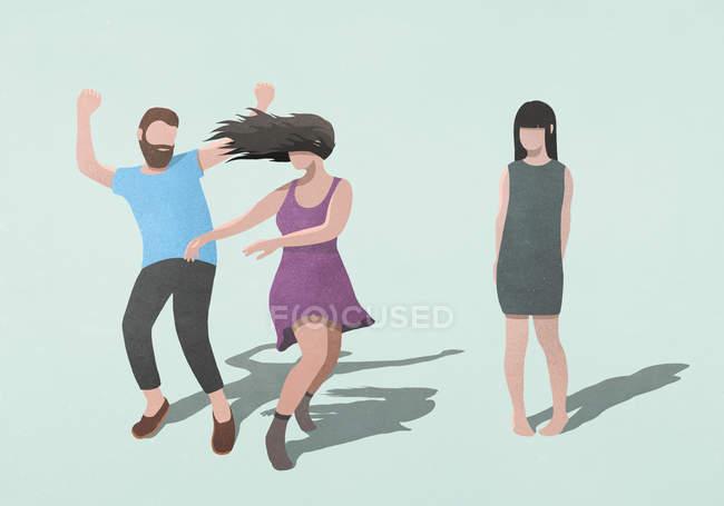 Femme timide regarder la danse en couple sans soucis — Photo de stock