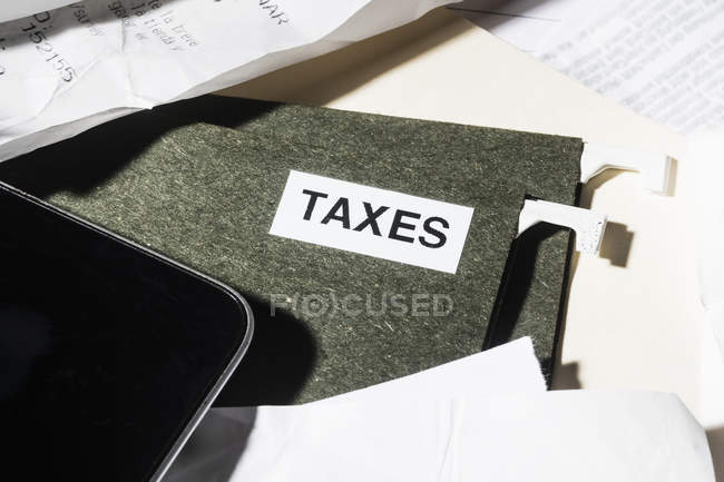 Close up taxes file and finance paperwork — Stock Photo