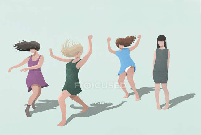 Shy woman watching carefree women dancing on blue background — Stock Photo