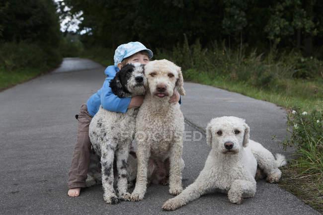 Портрет милая девушка обнимает собак на сельской дороге — стоковое фото