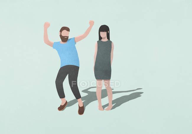 Пара танцев на синем фоне — стоковое фото