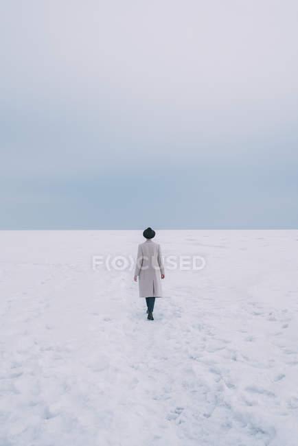 Mujer con abrigo y sombrero caminando en el paisaje cubierto de nieve - foto de stock