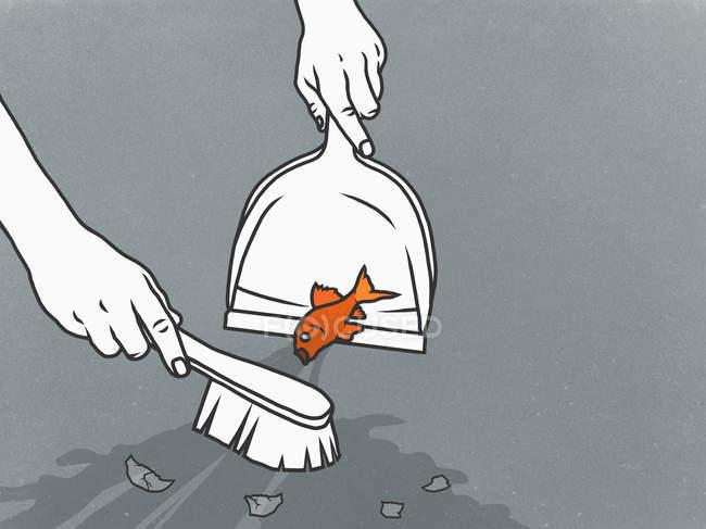 Homme balayant des poissons rouges dans la poubelle — Photo de stock