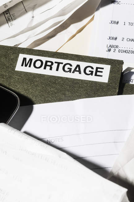 Close up mortgage file and finance paperwork — Stock Photo