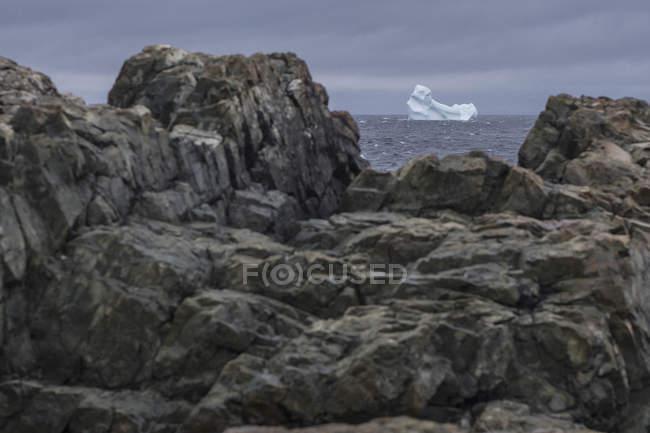 Vue d'iceberg dans la mer à travers les roches sur la rive, l'île de Fogo (Terre-Neuve), Canada — Photo de stock