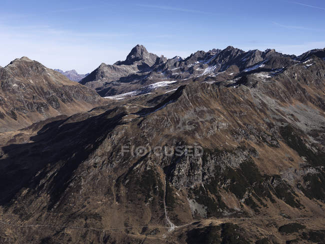 Scenic view rugged brown mountain range, Ischgl, Tyrol, Austria — Stock Photo
