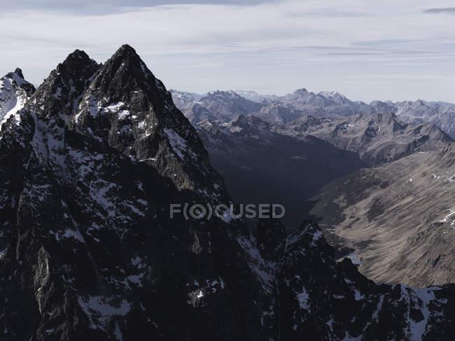 Scenic view of rugged mountain range, Ischgl, Tyrol, Austria — Stock Photo