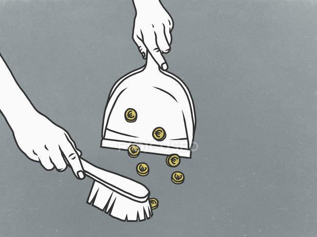 Людина, підмітання монети євро в совок — стокове фото