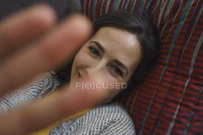 Portrait happy, shy woman — Stock Photo