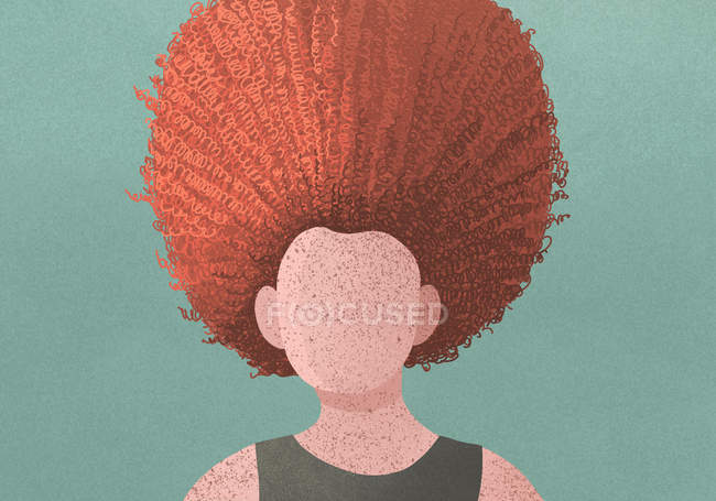 A woman with freckles and curly red hair on green background — Stock Photo