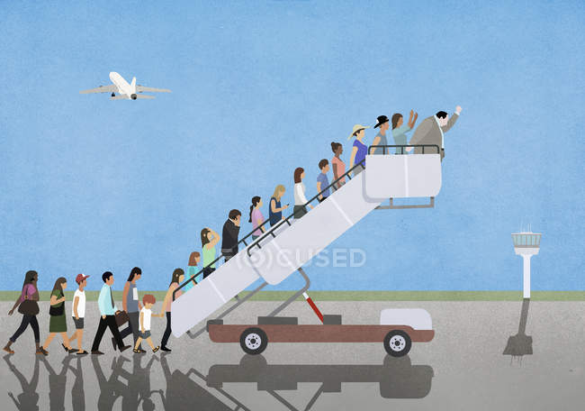 Passengers on mobile stairs on empty tarmac at airport — Stock Photo