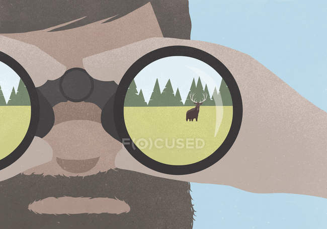 Reflection of moose in field in binoculars held by a man with a beard — Stock Photo