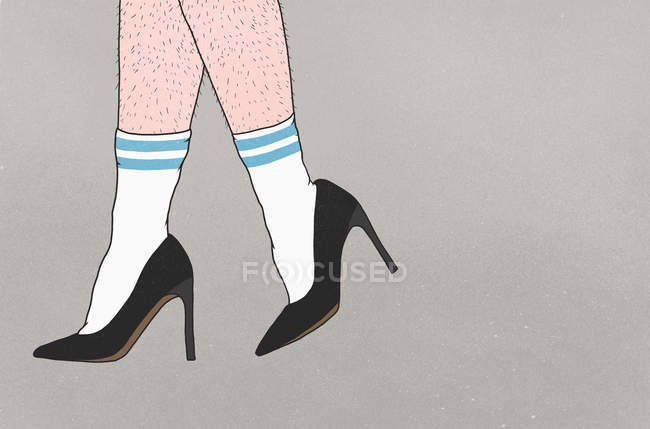 Low section of person with hairy legs wearing sports socks and high heels — Stock Photo
