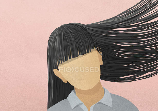 A woman with black hair and bangs tossing her hair — Stock Photo