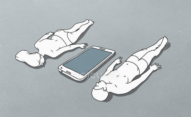 Figura de grande telemóvel entre cara mentirosa da figura feminina para baixo e masculina deitado para baixo nas costas — Fotografia de Stock